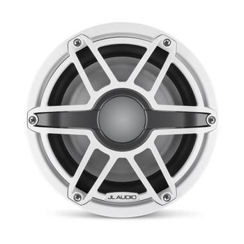 JL Audio 8-Inch M6 Marine Infinite Baffle Subwoofer, Gloss White, Sport Grille - SKU: M6-8IB-S-GwGw-4