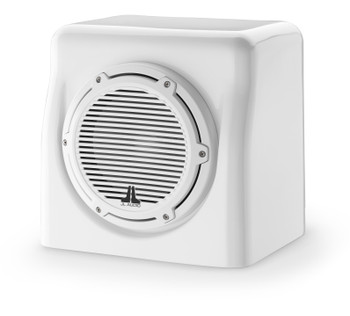 JL Audio 8-Inch M6 Enclosed Subwoofer System, Gloss White, Classic Grille - SKU: M6-8FES-Gw-C-GwGw-4