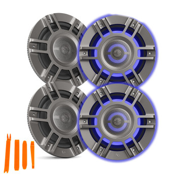 "Infinity KAPPA8135M - Two Pairs Of Kappa Marine KAPPA8135M Titanium 8"" Premium 3-Way RGB LED Convertible Speakers"