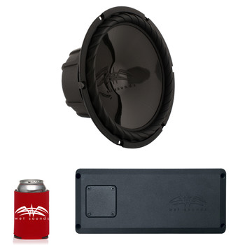 "Wet Sounds SS-10BS4 Black 10"" Subwoofer & STX Micro1 Compact Chassis Class-D Marine Grade Amplifier"