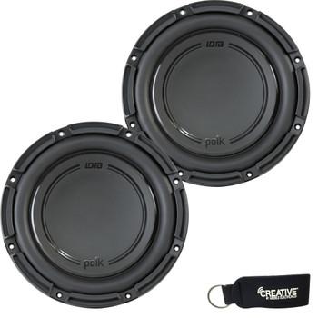 "Polk Audio -Two DB1042DVC 10"" Dual 4-Ohm Voice Coil Subwoofers, Bundle - Marine Certified"