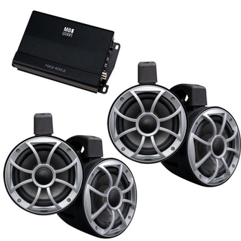 Wet Sounds - Two Pairs Of Black RECON 6 POD-B 6.5 Inch Tower Speakers & MB Quart NA2-400.2 Amplifier