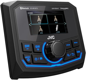 "JVC KD-MR1BTS Marine / MotorSports Digital Media Receiver with USB, 2.7"" Color Display, Weather Band, and Camera Ready"
