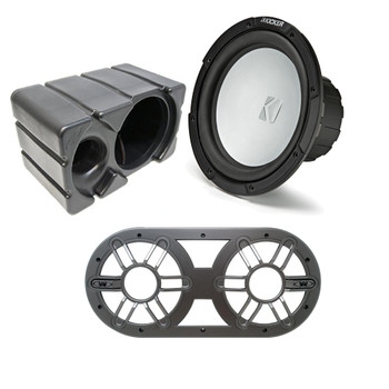 Kicker KM10 10-inch 2-Ohm (25cm) Marine Grade Subwoofer with Ported Enclosure and Subwoofer Vent Panel