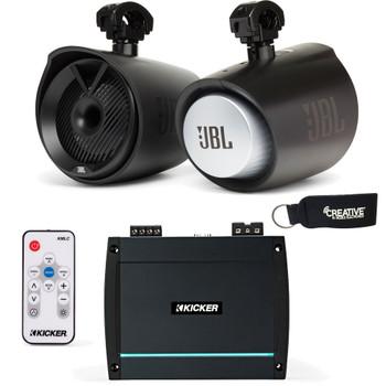 "JBL MT8HLB 8"" RGB LED Marine Tower Speakers, a Kicker 44KXMA400.2 Amp and a Kicker KMLC LED Controller"