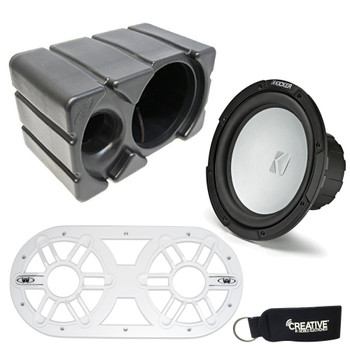 Kicker KM10 10-inch 2-Ohm (25cm) Marine Grade Subwoofer with Ported Enclosure and White Subwoofer Vent Panel