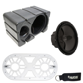 """Wet Sounds SS-10BS4 Black 10"""" Single 4 Ohm Marine Subwoofer with Ported Enclosure and White Subwoofer Vent Panel"""