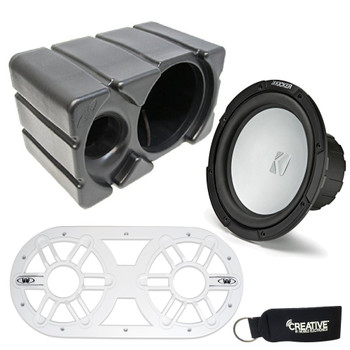 Kicker KM10 10-inch 4-Ohm (25cm) Marine Grade Subwoofer with Ported Enclosure and White Subwoofer Vent Panel