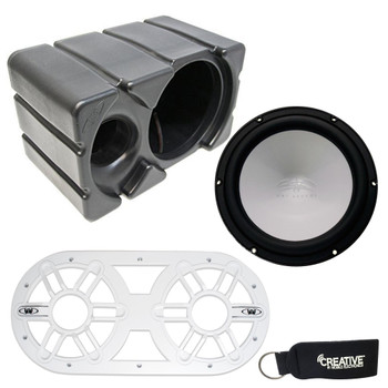Wet Sounds REVO 10 High Power S4-B 10 Inch 4 Ohm Subwoofer, with Ported Enclosure and White Subwoofer Vent Panel