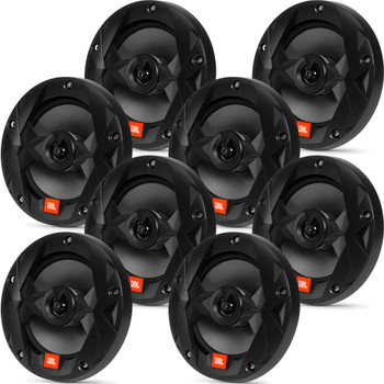 JBL MS65B OEM Replacement Marine 6.5 Inch Two-way Speakers - Eight Speakers, Black