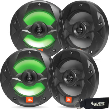 JBL MS8LB OEM Replacement Marine 8 Inch Two-way RGB-LED Speakers - Four Speakers, Black