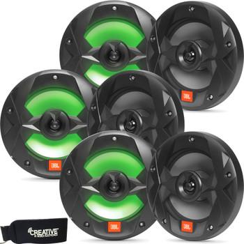 JBL MS8LB OEM Replacement Marine 8 Inch Two-way RGB-LED Speakers - Six Speakers, Black