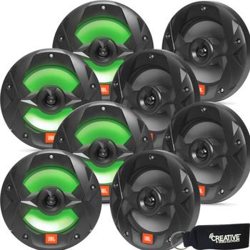 JBL MS8LB OEM Replacement Marine 8 Inch Two-way RGB-LED Speakers - Eight Speakers, Black