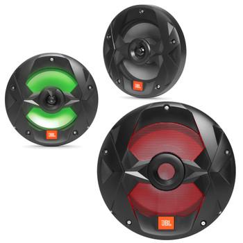 "JBL OEM Replacement Bundle - MS10LB 10"" Marine LED Subwoofer & A Pair Of MS8LB 8"" Marine LED Speakers - Black"