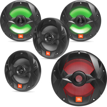 "JBL OEM Replacement Bundle - MS10LB 10"" Marine LED Subwoofer & Two Pair Of MS8LB 8"" Marine LED Speakers - Black"