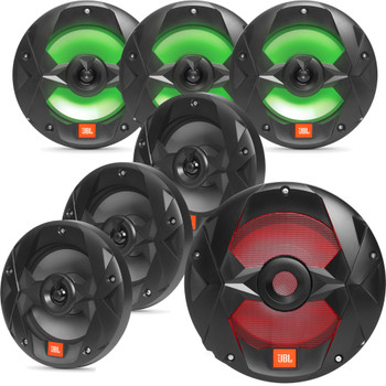 "JBL OEM Replacement Bundle - MS10LB 10"" Marine LED Subwoofer & Three Pair Of MS8LB 8"" Marine LED Speakers - Black"