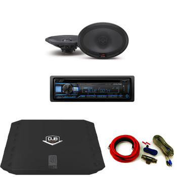 Alpine CDE-143BT Receiver with SPR-69 6x9 Speakers, DUBA2100 Amp, Amp Kit