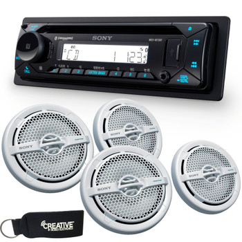 """Sony MEX-M72BT Marine Bluetooth/CD Receiver & Two Pairs of XS-MP1611 6.5"""" Marine Dual Cone Speakers"""