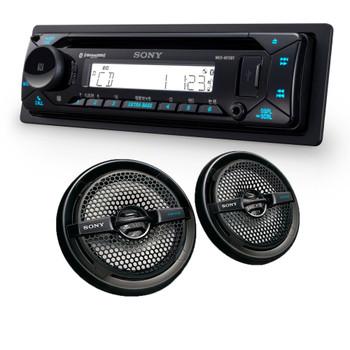 "Sony MEX-M72BT Marine Bluetooth/CD Receiver & A Pair of XS-MP1611B Black 6.5"" Marine Dual Cone Speakers"