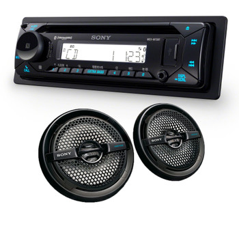 "Sony MEX-M72BT Marine Bluetooth/CD Receiver & A Pair of XS-MP1611B Black 6.5"" Marine Dual Cone Speakers"