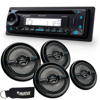 "Sony MEX-M72BT Marine Bluetooth/CD Receiver & Two Pairs of XS-MP1611B Black 6.5"" Marine Dual Cone Speakers"