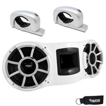 """Wet Sounds - REV 410 Fixed Aluminum Clamp Tower Speaker, fits 1-7/8"""" to 3"""" pipes - WHITE"""
