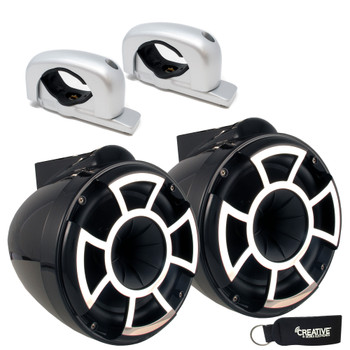 Wet Sounds - REV 8 Fixed Aluminum Clamp 8-Inch Tower Speakers - Black (Pair)