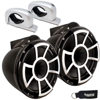 Wet Sounds - REV 10 Fixed Aluminum Clamp 10-Inch Tower Speakers - Black (Pair)