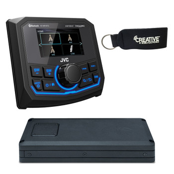 "JVC KD-MR1BTS Marine Media Receiver with 2.7"" Display & Wet Sounds STX Micro4: 4-Channel Marine Grade Amplifier"