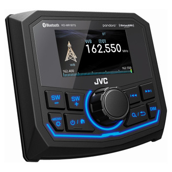 "JVC KD-MR1BTS Marine Media Receiver with 2.7"" Display & Wet Sounds STX Micro4: 4-Channel Marine Grade Amplifier"