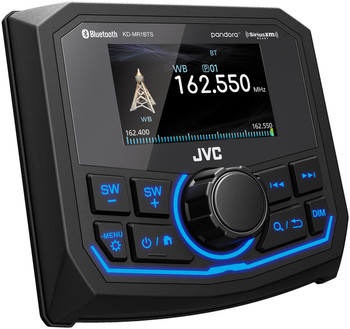 JVC KD-MR1BTS Bluetooth Marine Receiver w/ Two Pairs of Kicker LED Marine OEM Replacement Speakers - Charcoal