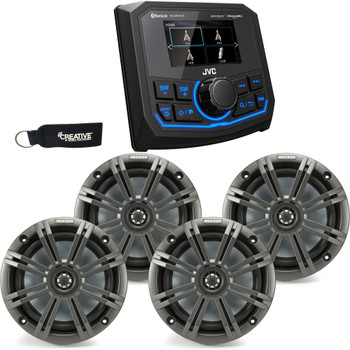 JVC KD-MR1BTS Bluetooth Marine Receiver w/ Two Pairs of Kicker Marine OEM Replacement Speakers - Charcoal
