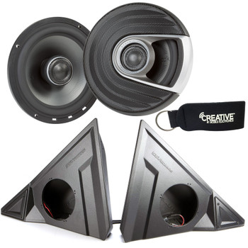 "SSV Works For SS-F65U Polaris Slingshot Front Kick Pods + Polk MM652 6.5"" Marine Rated Coax Speakers"