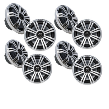 "Kicker 8"" Silver Marine LED Speakers - 4-Pairs of OEM replacement speakers"