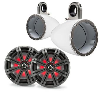 "Kicker 8"" White\Charcoal Wake Tower LED Marine Speakers 1-Pair"