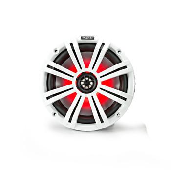 """Kicker 8"""" White Wake Tower LED Marine Speakers 1-Pair"""