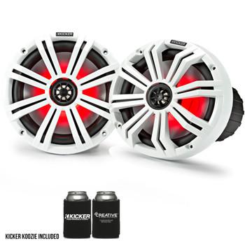 "Kicker 8"" White Marine LED Speakers - 4-Pairs of OEM replacement speakers"