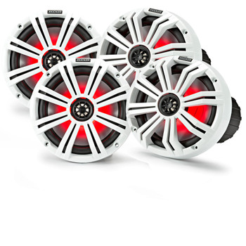 "Kicker 8"" White Marine LED Speakers - 2-Pairs of OEM replacement speakers"
