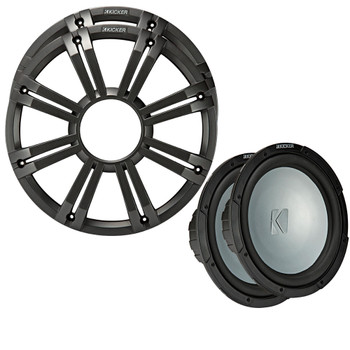 Kicker - Two 10 Inch LED Marine Subwoofers in Charcoal, 2 Ohm Bundle 4 Ohm each