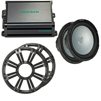 Kicker - Two 12 Inch LED  Marine Subwoofers in Charcoal, 1 Pair with 600 Watt Amplifier Bundle