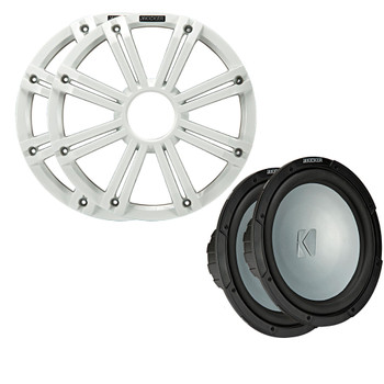 Kicker - Two 10 Inch LED Marine Subwoofers in White, 2 Ohm Bundle 4 Ohm each