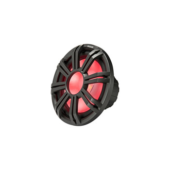 Kicker - Two 10 Inch LED Marine Subwoofers in Charcoal, 1 Pair with 600 Watt Amplifier Bundle