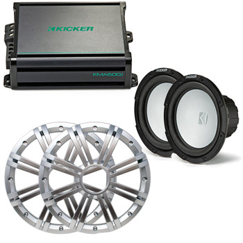 Kicker - Two 10 Inch LED  Marine Subwoofers in Silver, 1 Pair with 600 Watt Amplifier Bundle
