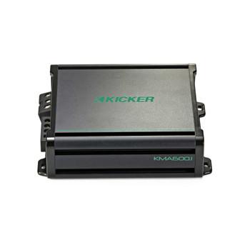 Kicker - Two 10 Inch LED  Marine Subwoofers in Silver, 1 Pair with 600 Watt Amplifier Bundle