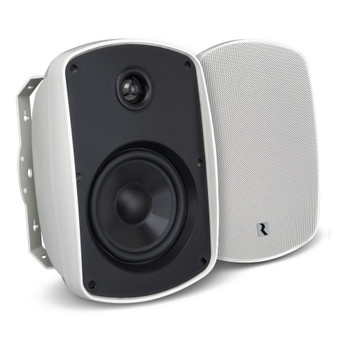 "Russound 4"" White Indoor Outdoor Wall Mount or Bookshelf Speaker Bundle 3 pair (6 total)"