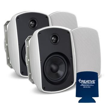 "Russound 4"" White Indoor Outdoor Wall Mount or Bookshelf Speaker Bundle 2 pair (4 total)"