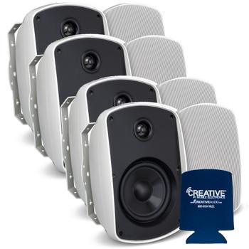 "Russound 5"" White Indoor Outdoor Wall Mount or Bookshelf Speaker Bundle 4 pair (8 total)"