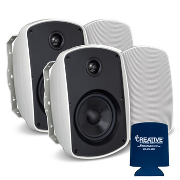 "Russound 5"" White Indoor Outdoor Wall Mount or Bookshelf Speaker Bundle 2 pair (4 total)"