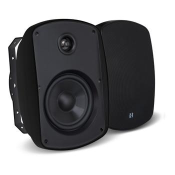 """Russound 4"""" Black Indoor Outdoor Wall Mount or Bookshelf Speaker Bundle 3 pair (6 total)"""