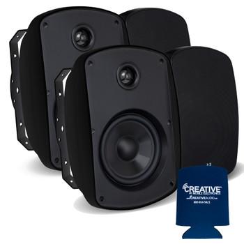 """Russound 4"""" Black Indoor Outdoor Wall Mount or Bookshelf Speaker Bundle2 pair (4 total)"""